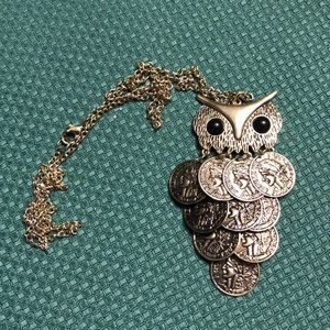 Cute vintage owl coin necklace